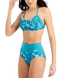 Cloud-Dye Strappy Crossback Bikini Top & High-Waist Bikini Bottoms