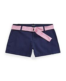 Big Girls Belted Stretch Chino Shorts