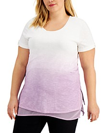 Plus Size Dip-Dye Layered Top, Created for Macy's