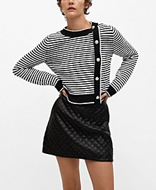Women's Buttoned Striped Sweater