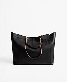 Women's Chain Handle Shopper Tote Bag