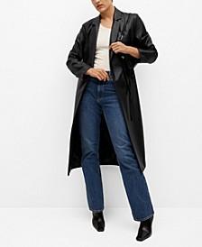 Women's Belt Leather-Effect Coat