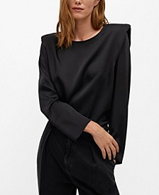 Women's Satin Shoulder Pad Blouse