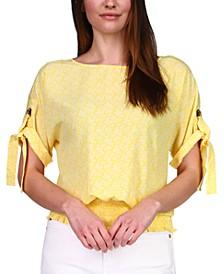 Paisley-Print Grommet-Sleeve Top, Regular & Petite