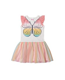 Little Girls Short Flutter Sleeve Graphic Tutu Dress