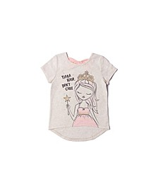 Little Girls Short Sleeve Graphic and Text Tee