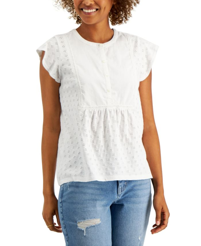 Style & Co Cotton Ruffled-Sleeve Eyelet Top, Created for Macy's & Reviews - Tops - Women - Macy's
