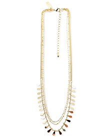 """Gold-Tone Teardrop Charm Layered Necklace, 16"""" + 3"""" extender, Created for Macy's"""
