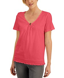 Ring-Neck Smocked-Hem Top, Created for Macy's