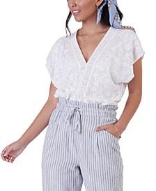 Petite Embroidered Bodysuit