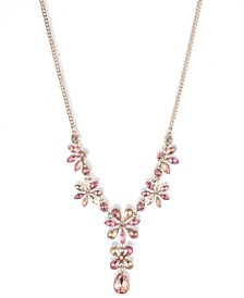 Gold-tone and Pink Tonal Crystal Y-Neck Necklace