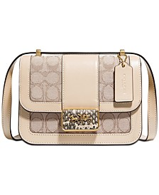 Alie Shoulder Bag 18 In Signature Jacquard With Snakeskin Detail