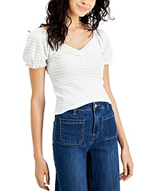 Juniors' Ruched Puff-Sleeve Top