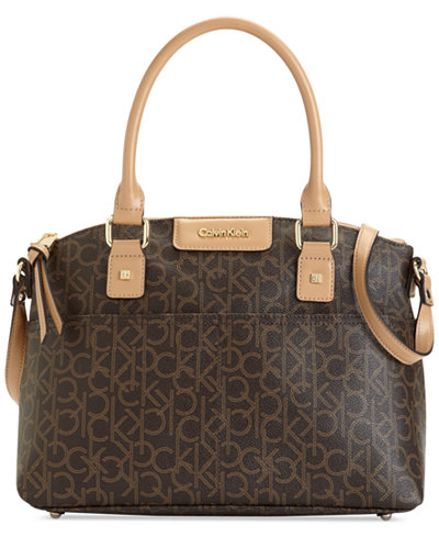 Calvin Klein Hudson Dome Signature Satchel Handbags Accessories