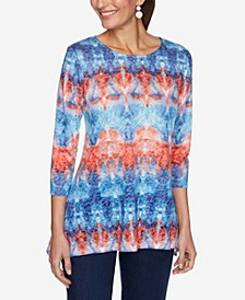 Women's Misses Knit Embellished Tiedye Top