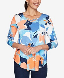 Women's Misses Knit Fun Floral Top