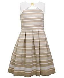 Big Girls Sleeveless Border Striped Dress with Scalloped Yoke