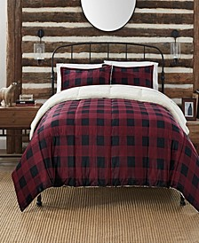 Cozy Plush Buffalo  Plaid 3 Piece Comforter Set, Twin