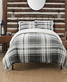 Cozy Plush Buffalo  Plaid 3 Piece Comforter Set, Twin