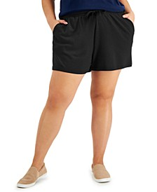 Plus Size Solid Knit Track Shorts, Created for Macy's