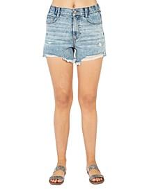 Juniors' Distressed High-Rise Denim Shorts