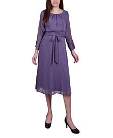 Petite Belted Swiss Dot Dress
