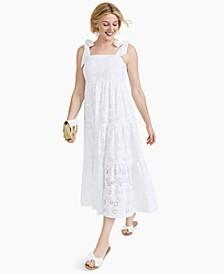 Petite Cotton Eyelet Midi Dress, Created for Macy's
