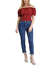 Smocked Off-The-Shoulder Cotton Top