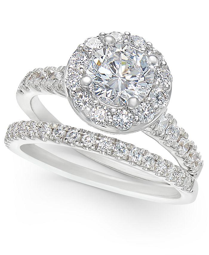 Macy's - Certified Diamond Halo Bridal Set (2 ct. t.w.) in 14k Gold