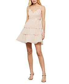 Lace-Top Tiered-Skirt Dress
