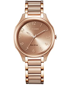 Eco-Drive Women's Rose Gold-Tone Stainless Steel Bracelet Watch 35mm