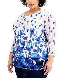 Plus Size Floral-Print Tunic Top