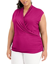 INC Plus Size Surplice Top, Created for Macy's