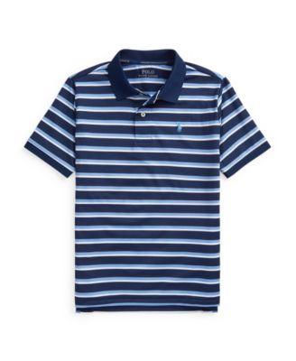 폴로 랄프로렌 보이즈 폴로티 Polo Ralph Lauren Big Boys Striped Performance Jersey Polo Shirt,Navy