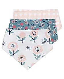 Baby Girls Bandana Bib with Bunny Floral Prints, 3 Pack
