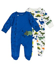 Baby Boys Sleep Play Dress with Dinosaur Print, 2 Pack