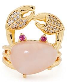 Gold-Tone Cubic Zirconia & Semiprecious Gemstone Crab Statement Ring