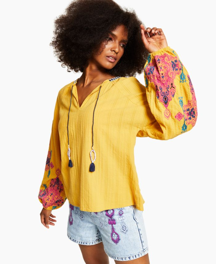 INC International Concepts INC Cotton Embroidered-Sleeve Peasant Blouse, Created for Macy's & Reviews - Tops - Women - Macy's