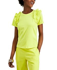 INC Cotton Ruffle-Trim T-Shirt, Created for Macy's