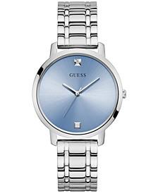 Unisex Diamond Accent Stainless Steel Bracelet Watch 34mm