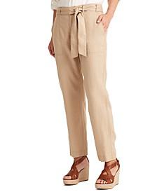 Petite Belted Linen Pants