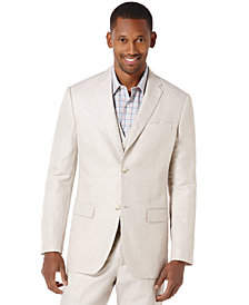 Perry Ellis Men's Linen Big & Tall Linen Blend Herringbone Blazer