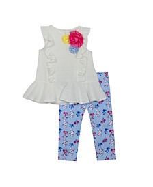 Toddler Girls 2 Piece Eyelet Legging Set