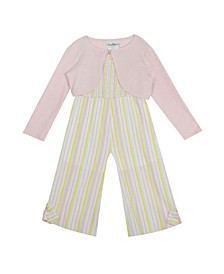 Toddler Girls Seersucker Jumpsuit with Cardigan