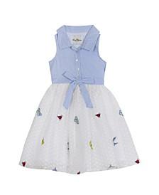Toddler Girls Embroidered Mesh Dress