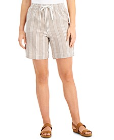 Petite Striped Cotton Drawstring Shorts, Created for Macy's