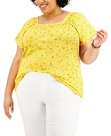 Plus Size Printed Square-Neck Top, Created for Macy's
