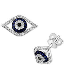 EFFY® Sapphire (1/6 ct. t.w.) & Diamond (1/5 ct. t.w.) Evil Eye Stud Earrings