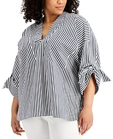 Plus Size Roll-Sleeve V-Neck Striped Top