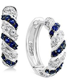 "EFFY® Sapphire (1/2 ct. t.w.) & White Sapphire (3/4 ct. t.w.) Small Hoop Earrings in Sterling Silver, 0.72"""